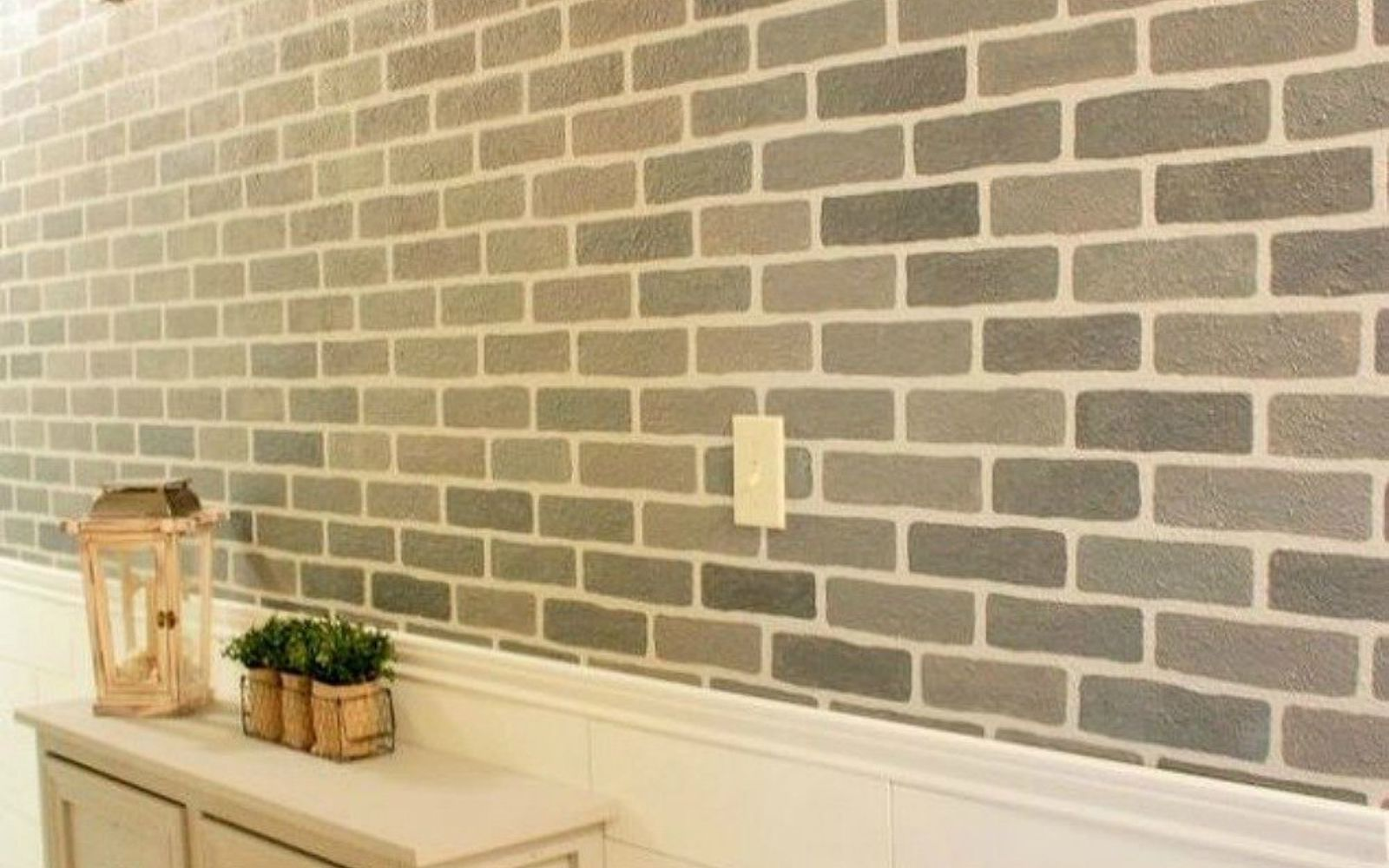 s 12 stunning ways to get that exposed brick look in your home, Use a stencil to get the faux brick right