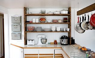 our open farmhouse kitchen shelving before and after home project