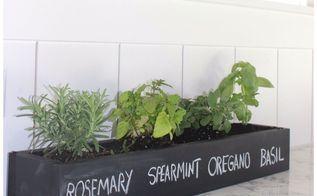 mini herb garden with chalk paint