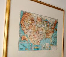 family travel map wall art made from a thrifty find