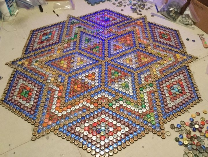 Bottlecap floor tile hometalk for Bottle cap hat diy