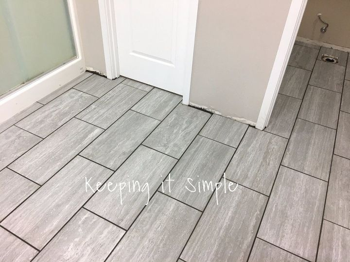 How to tile a bathroom floor with 12x24 gray tiles hometalk for How to bathroom tile