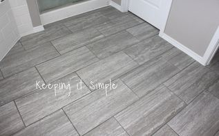 how to tile a bathroom floor with 12x24 gray tiles