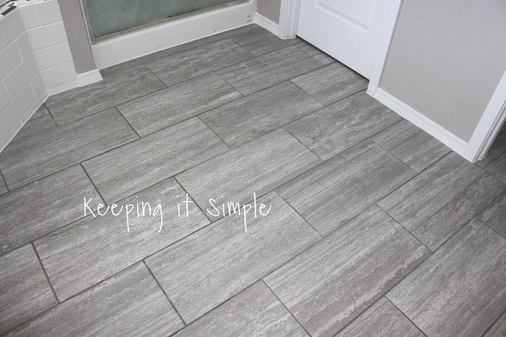 How to tile a bathroom floor with 12x24 gray tiles hometalk for Bathroom 12x24 tile