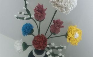 upcycled t shirt yarn bouquet