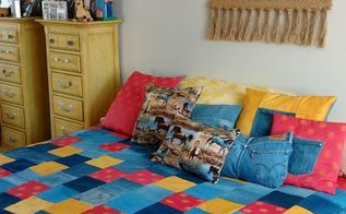denim fabric quilt and matching pillows