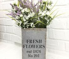 fresh flowers vase faux galvanized finish