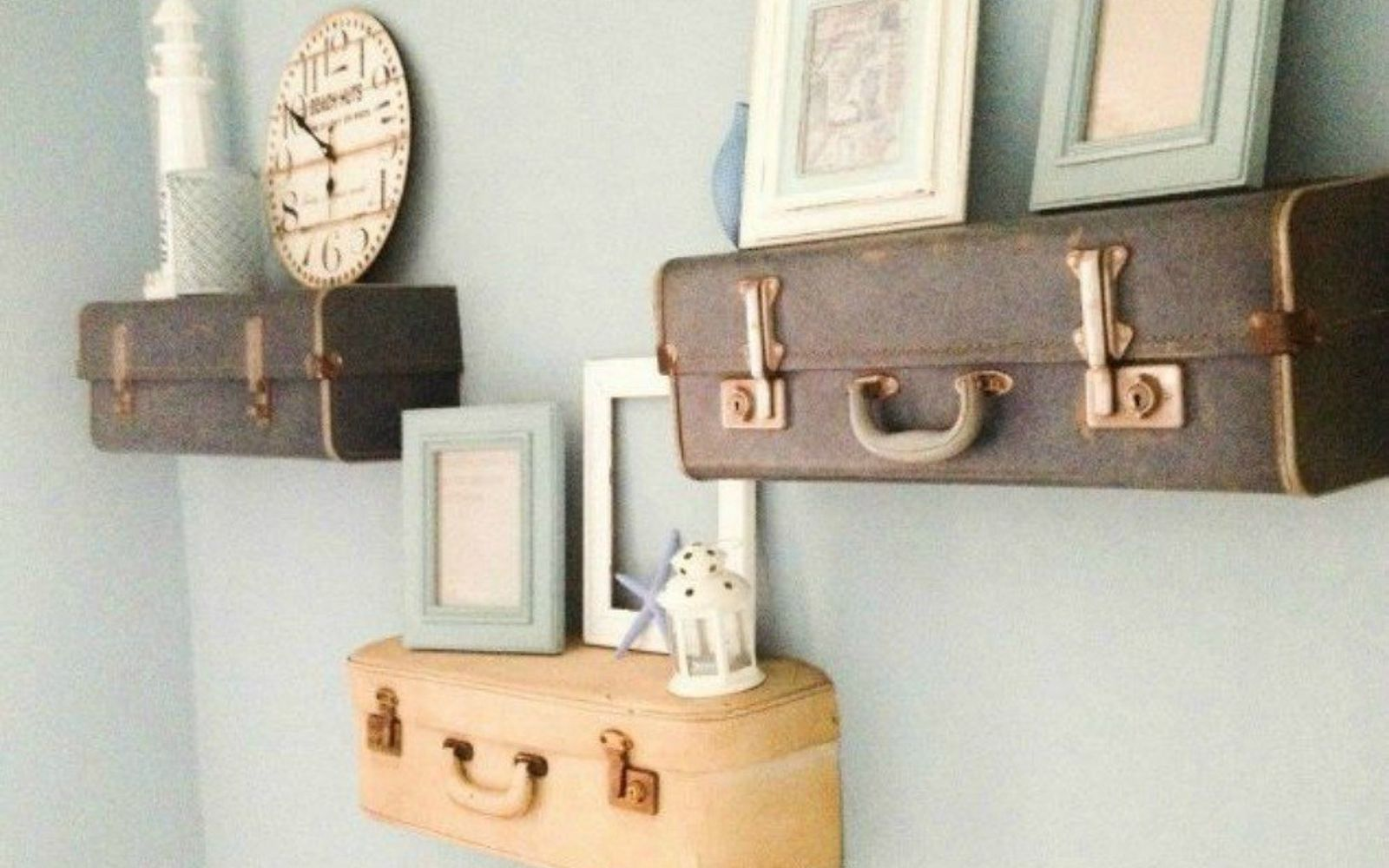 s don t throw out your old suitcase before you see these 15 clever ideas, Cut and hang them into floating shelves
