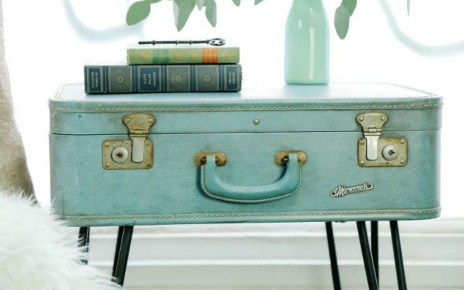 s don t throw out your old suitcase before you see these 15 clever ideas, Drill some hairpin legs for a standing table