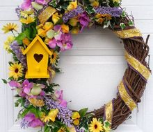 spring door decor, Birdhouse Wreath