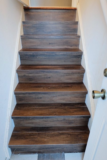 Great Solution Wood Look Vinyl Tile On A Stair Hometalk