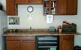 repurposed kitchen cabinets don t toss your old ones, Repurposed to the garage