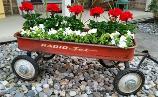 vintage wagon repurposed all over again, Geraniums Impatience Vintage Wagon