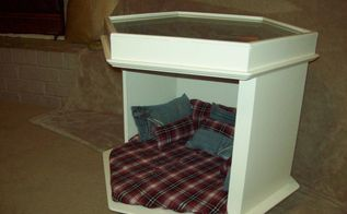 masculine pet bed end table makeover