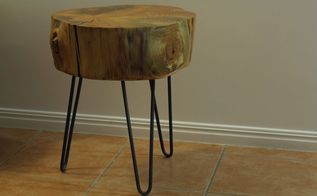 turn a tree stump into a side table