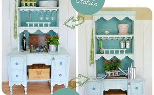 repurpose a hutch desk into a potting bench and beverage station