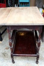 updating an antique drop leaf table into a bar or tea cart