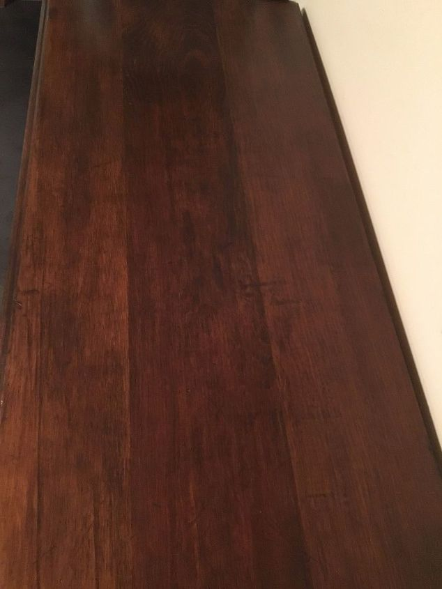 a coffee bar from an old dresser, Top after sanding staining and poly