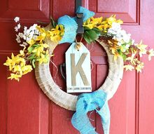 spring wreath from a repurposed wreath