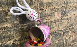 teacup easter bunny feeder