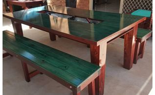 how to turn an old table into a trough party table, Trough party table with built in cooler