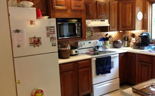 an update on painted kitchen cabinets and counter tops, The original builder grade cabinets 1985