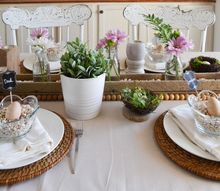 spring tablescape with thrifted finds and a pantry staple
