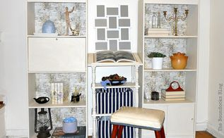 how to makeover a bookcase with chalk paint and open up the room