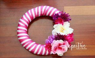 spring wreath with ribbon and dollar store flowers