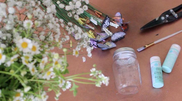 Diy mason jar centerpiece idea hometalk for Kitchen cabinets lowes with canvas mason jar wall art