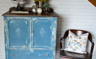 ugly yellow cabinet makeover now pretty in aubusson blue