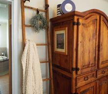 i found this old ladder hanging in a cattle barn and fell in love, The finished ladder in my bedroom