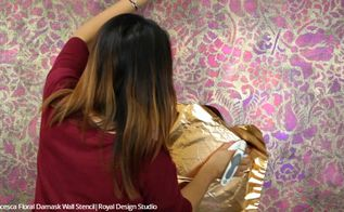how to stencil a metallic foil wall finish