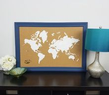 how to stencil a cork board using the world map pattern