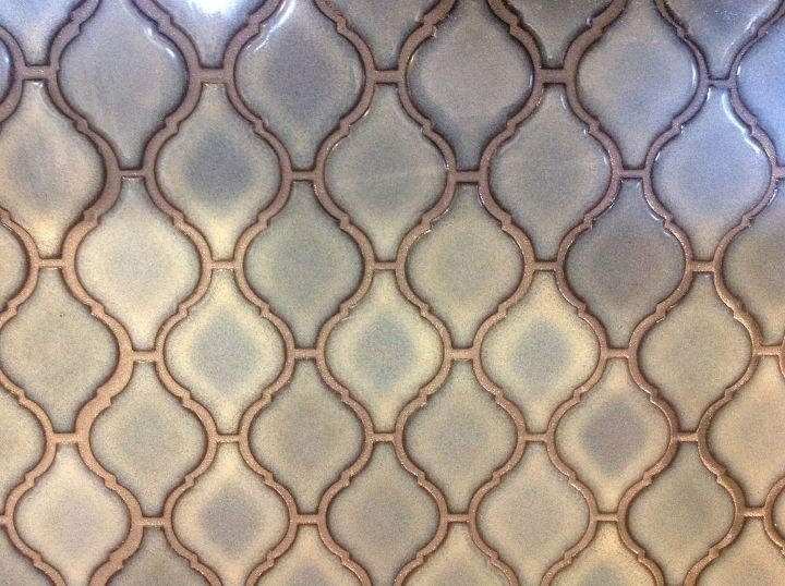 Arabesque Blue Tile Backsplash Using An Adhesive Mat
