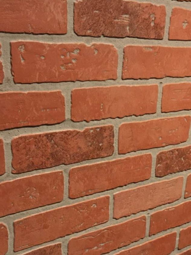 Create faux brick wall using inexpensive paneling hometalk - Red brick wall panel ...
