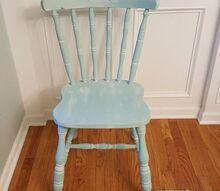 vintage farmhouse style chair gets a coastal makeover