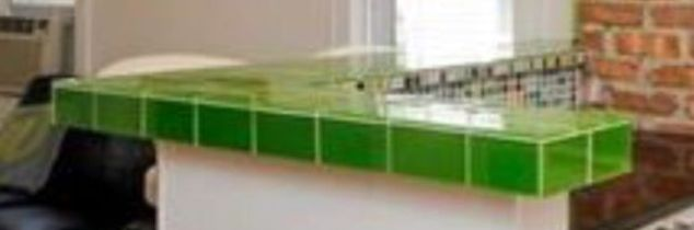 q can you feather finish a glass tile countertop