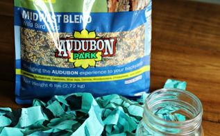 turn an old mason jar into a bird feeder