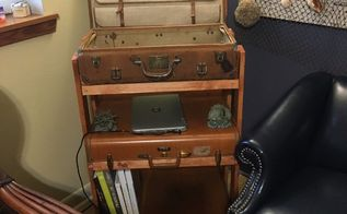 repurposed suitcases, My finished shelf with lid open