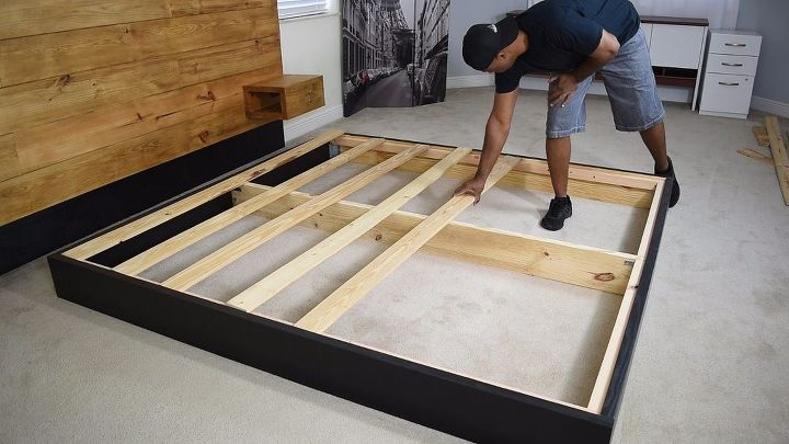 Diy platform bed with floating night stands hometalk for How to make a floating bed