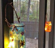 painted mason jar lanterns