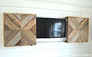 diy reclaimed pallet wood sliding tv cover