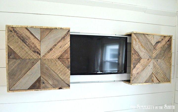 DIY Reclaimed Pallet Wood Sliding TV Cover | Hometalk