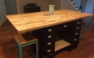 antique desk turned into kitchen island