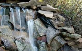 how to build a backyard waterfall up a slope