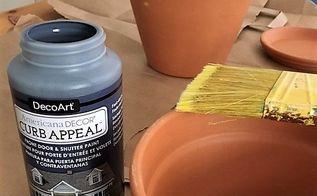 sponge painting terracotta pots for summer