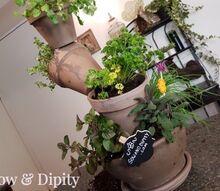 countertop stacked terra cotta herb planter
