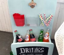 an old table without legs gets transformed into a summer drink station