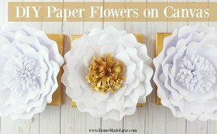 diy paper flowers on canvas